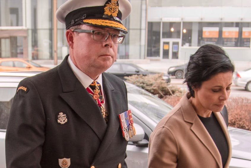 Vice Admiral Mark Norman arrives to an Ottawa court with his lawyer, Marie Henein, for his first appearance after being charged with one count of breach of trust.
