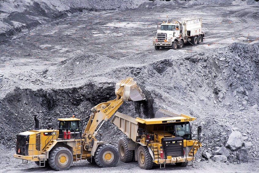 Excavators work at Atlantic Gold Corp.'s Touquoy open pit gold mine in Moose River Gold Mines, N.S.