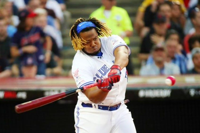 Vladimir Guerrero Jr. of the Blue Jays competes in the T-Mobile Home Run Derby at Progressive Field in Cleveland on Monday, July 8, 2019. - Gregory  Shamus