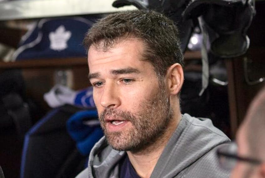 Toronto Maple Leaf Patrick Marleau scrums at the team's year-end availability in Toronto on April 25, 2019. Craig Robertson/Toronto Sun