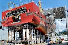 NORTH VANCOUVER, BC., June 26, 2019 - National Shipbuilding Program underway at  Seaspan Shipyards.