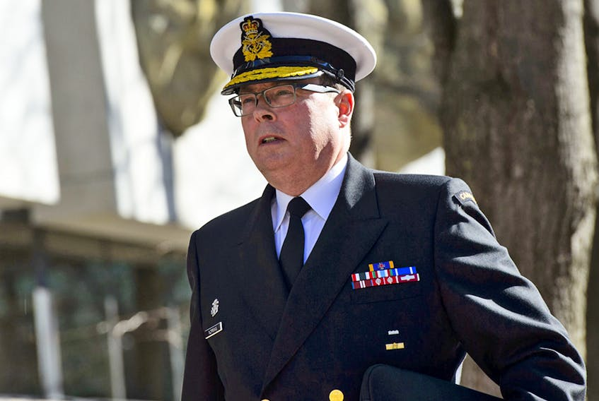Vice Admiral Mark Norman arrives at court in Ottawa on April 16, 2019.
