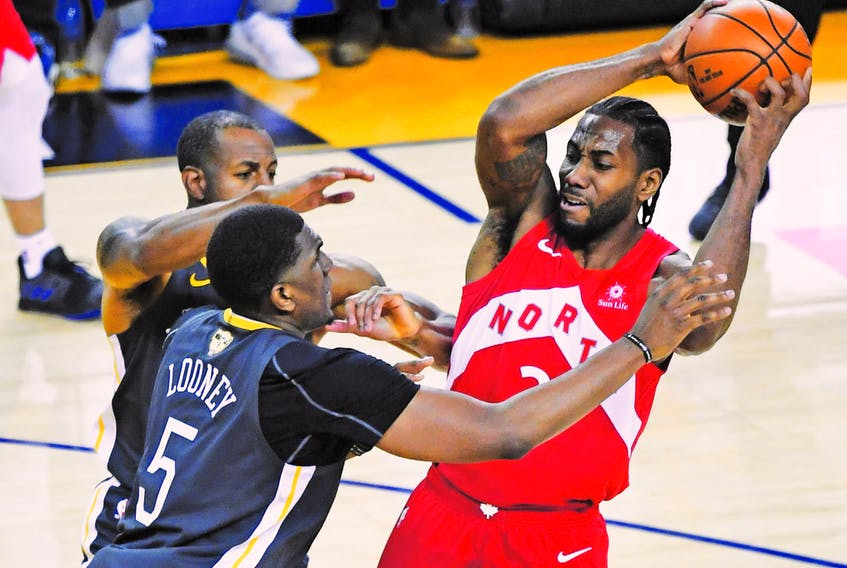 Despite being double- and sometimes triple-teamed, Raptors' Kawhi Leonard leads all NBA playoff performers in 10 different statistical categories, putting him at the  rarefied level of Michael Jordan and LeBron James. (Photo by Thearon W. Henderson/Getty Images)