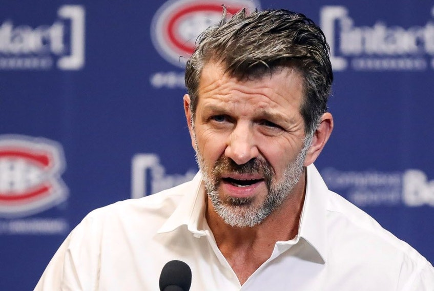 Canadiens general manager Marc Bergevin meets the media at the Bell Sports Complex in Brossard on April 9, 2019, after his team missed the NHL playoffs for the second straight season.