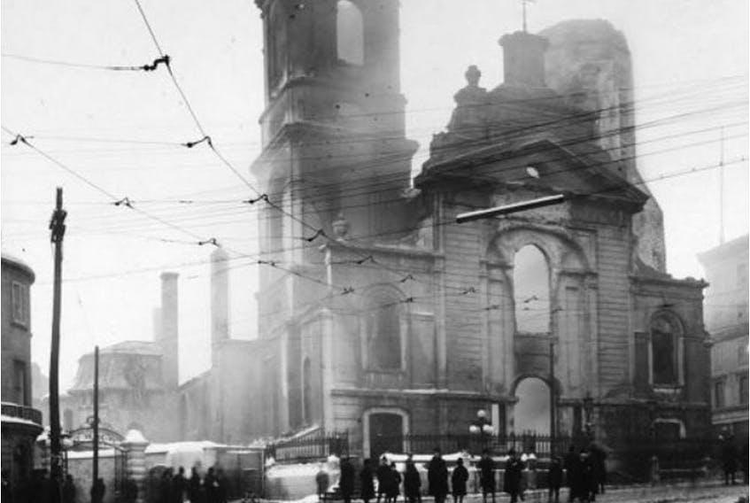 Quebec City residents survey the scorched ruins after fire gutted the Notre-Dame cathedral-basilica in the heart of Old Quebec on Dec. 22, 1922.