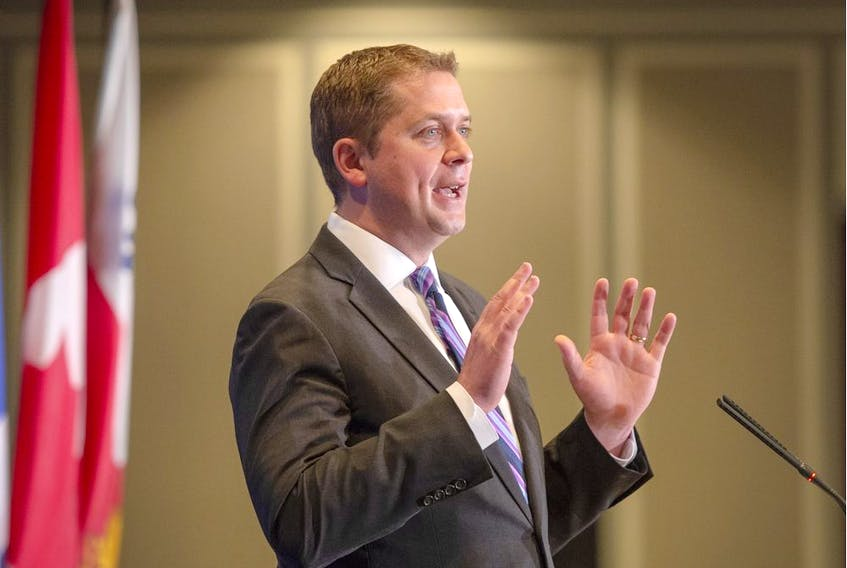 Conservative Leader Andrew Scheer addresses the Montreal Council on Foreign Relations Tuesday, May 7, 2019 in Montreal.