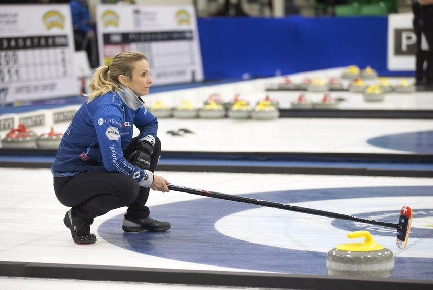Silvana Tirinzoni places her broom on the ice during the World Curling Tour Champions Cup at Merlis Belsher Place in Saskatoon, Sk on Thursday, April 25, 2019.