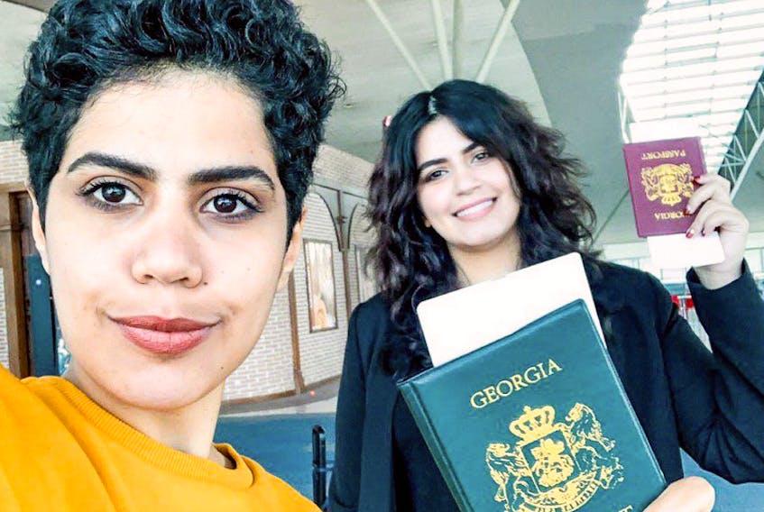 Saudi sisters Wafa al-Subaie (L,) 25, and Maha al-Subaie (R,) 28, tweeted they'd got their asylum approved on Tuesday.