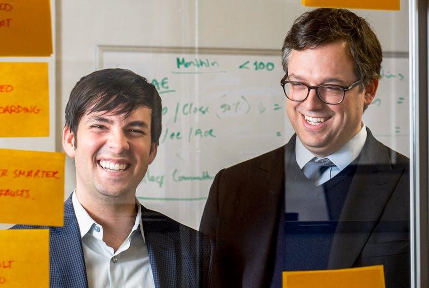 Francois Lafortune , left, and Paul Desmarais III at Diagram Ventures' Toronto offices in 2017.