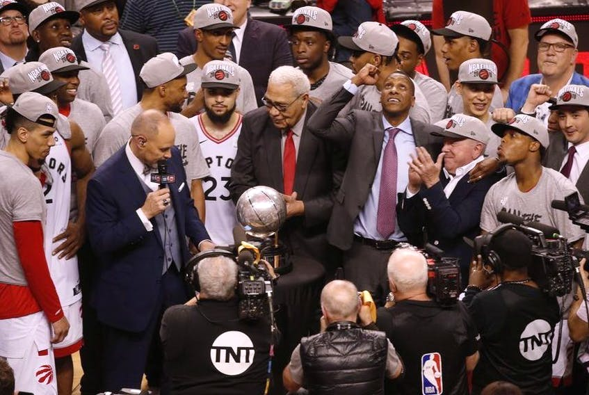 Toronto Raptors team president Masai Ujiri looks up and pumps his fist after the game in Toronto, Ont. on Saturday May 25, 2019. Jack Boland/Toronto Sun/Postmedia Network
