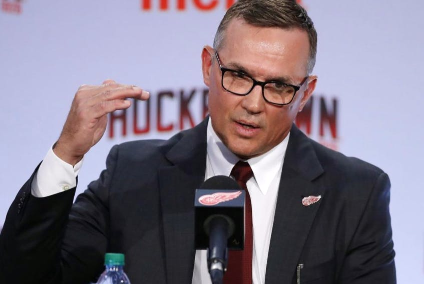Steve Yzerman answers a question during a news conference where he was introduced as the new executive vice president and general manager of the Detroit Red Wings, Friday, April 19, 2019, in Detroit.