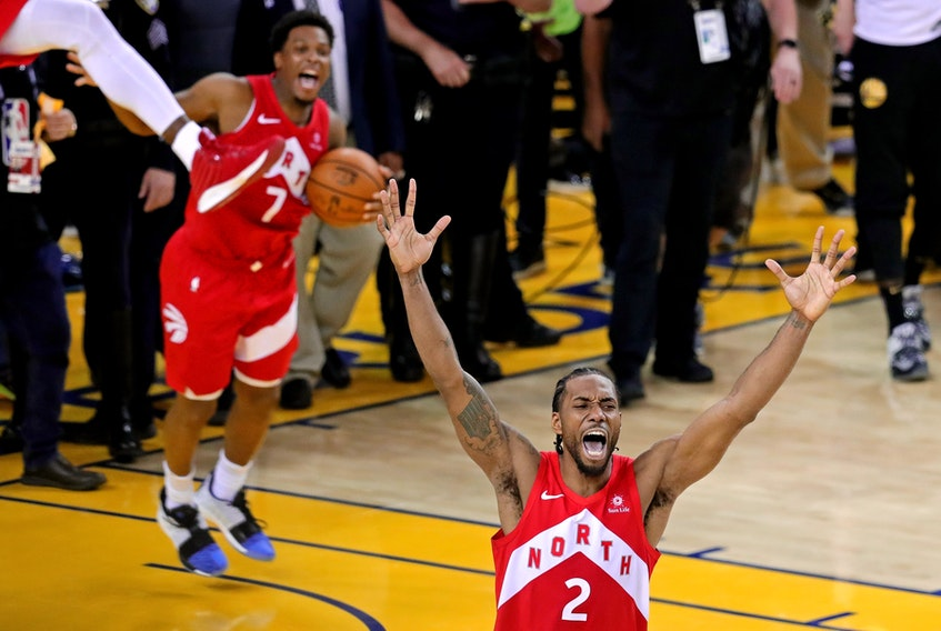 Kawhi Leonard (2) celebrates after the Raptors defeated the Golden State Warriors in Game 6 of the NBA Finals to win the championship series. ( Sergio Estrada/USA TODAY Sports)