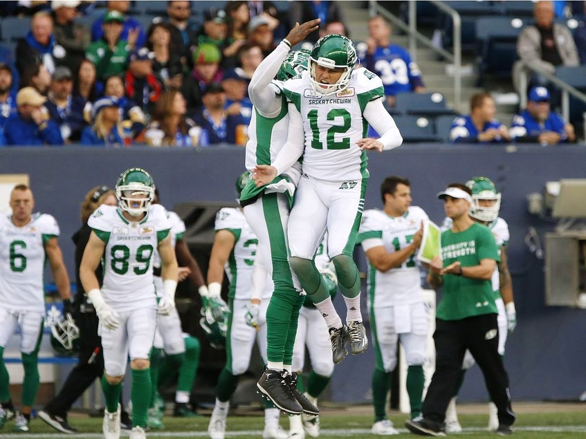 Saskatchewan's Brett Lauther (12) celebrates another field goal for the Roughriders during the 2018 CFL season. The Truro kicker successfully booted 54 of 60 field goals that season and was named a West Division all-star. - Postmedia