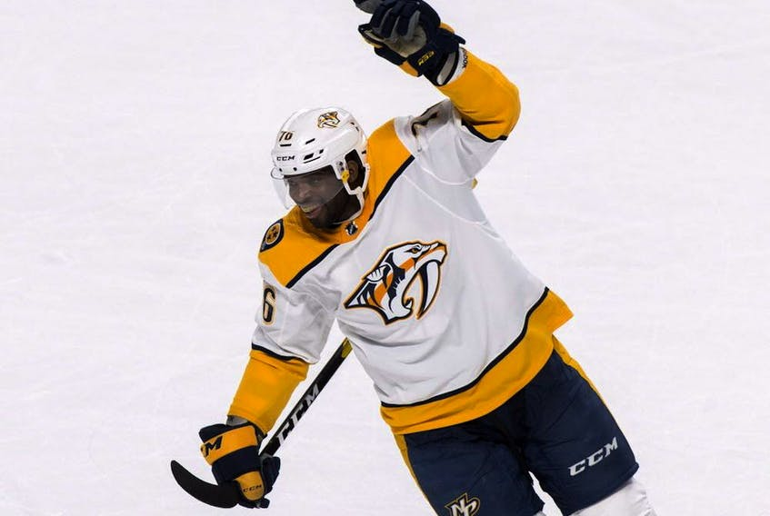 Nashville Predators' P.K. Subban reacts after his team's win over the Canadiens in Montreal on Jan. 5, 2019.