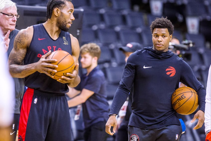 Toronto Raptors Kawhi Leonard and Kyle Lowry (right) at practice during the NBA Finals Media Day at the Scotiabank Arena in Toronto, Ont. on Wednesday May 29, 2019. Ernest Doroszuk/Toronto Sun/Postmedia