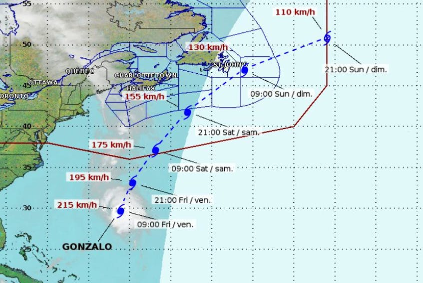 This image depicts the expected route of Hurricane Gonzalo as of Friday afternoon.