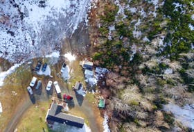 A drone photo taken by the RCMP of the Upper Big Tracadie home shared by Lionel and Shanna Desmond as part of their investigation.