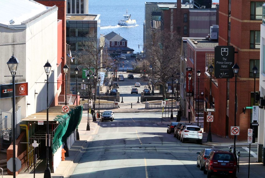 Looking down Carmichael Street on Wednesday, March 25, 2020, Halifax seems like a ghost town as most people practise social distancing and work from home.