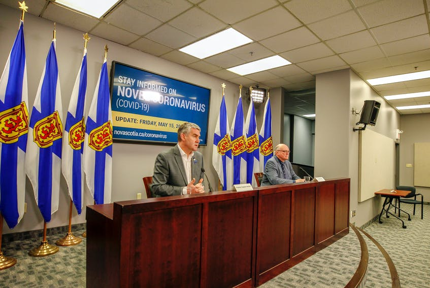 Premier Stephen McNeil and Robert Strang, Nova Scotia's chief medical officer of health, give their regular COVID-19 update Friday, May 15, 2020.