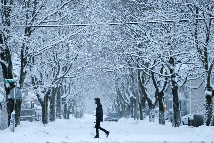 A pedestrian crosses Oxford Street in Halifax after an overnight snowfall that brought up to 15 centimetres of the fluffy white stuff to much of the province.