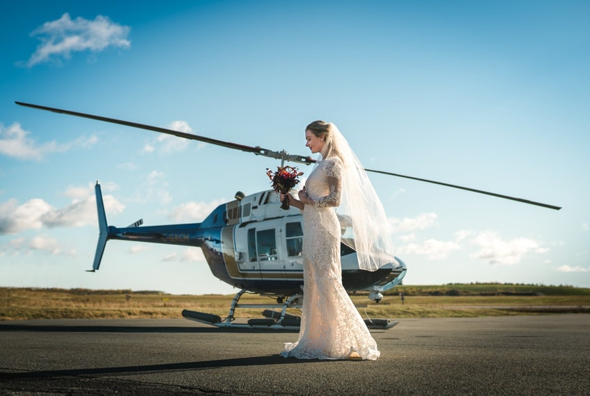A Halifax wedding planner has teamed up with a local helicopter outfit to offer small weddings on islands off the coast of Nova Scotia. - Julia K Events via Al Masalma of Mosy Photography