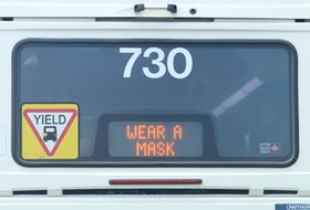 A Halifax Transit bus carries a timely message Friday, July 24. Non-medical masks became mandatory on public transit Friday and will be required in most public spaces beginning July 31.
