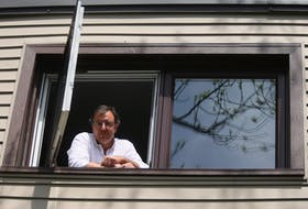 Mount Saint Vincent University professor Jonathan Roberts, who created the podcast Pandemics Past and Present, seen from the upper-floor room of his Halifax home where he creates his podcast Tuesday, May 26, 2020.