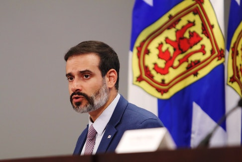 Nova Scotia Education Minister Zach Churchill talks about back-to-school safety protocol changes at a news briefing in Halifax on Friday, Aug. 14, 2020.
