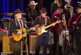 A screengrab from the YouTube video of Willie Nelson and Merle Haggard performing Pancho and Lefty, one of the many versions done of the song by a variety of artists.