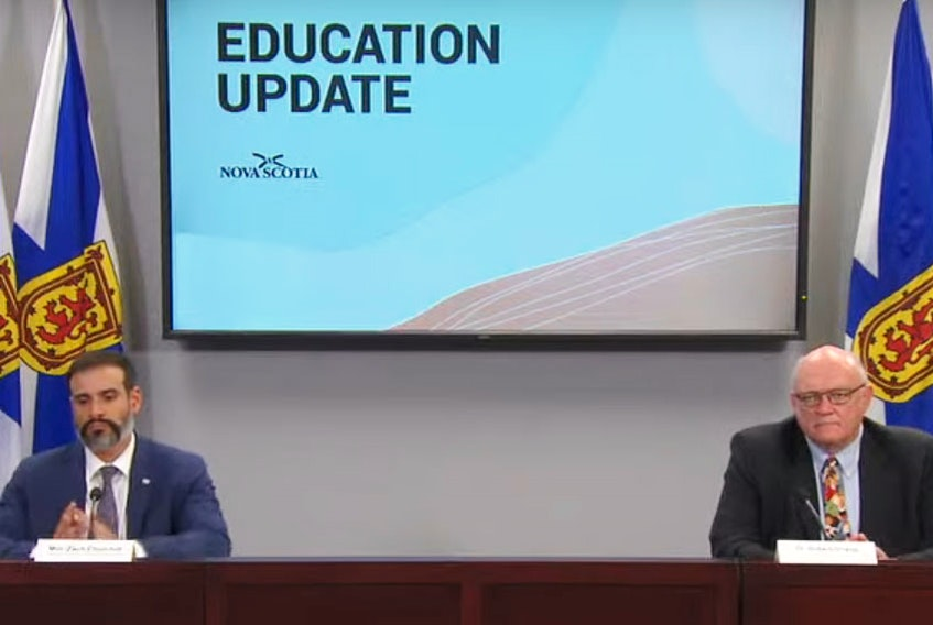 Education Minister Zach Churchill and Dr. Robert Strang, Nova Scotia's chief medical officer of health, talk about the plan to reopen the province's schools on Sept. 8.