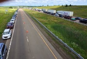 Traffic was heavy and motorists were reporting long waits to travel between provinces hours after the Atlantic bubble came into effect Friday, July 3, 2020. This is what it looked like late Friday morning near the boundary between Nova Scotia and New Brunswick.