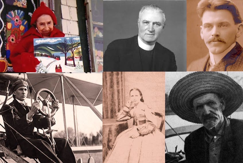 There are some of the Nova Scotians who would make a good candidate for the face of the new $5 bank note, says columnist John DeMont. Clockwise from top left, folk artist Maude Lewis, Cape Breton socialreformer Moses Coady, Halifax Explosion hero Vince Coleman, solo globe circumnavigator Joshua Slocum, female ship's captain Bessie Hall and pioneering flyer J.A.D. McCurdy. - AGNS, Coady International Institute, Nova Scotia Museum, New Bedford Whaling Museum, Wikipedia, City of Toronto Archives