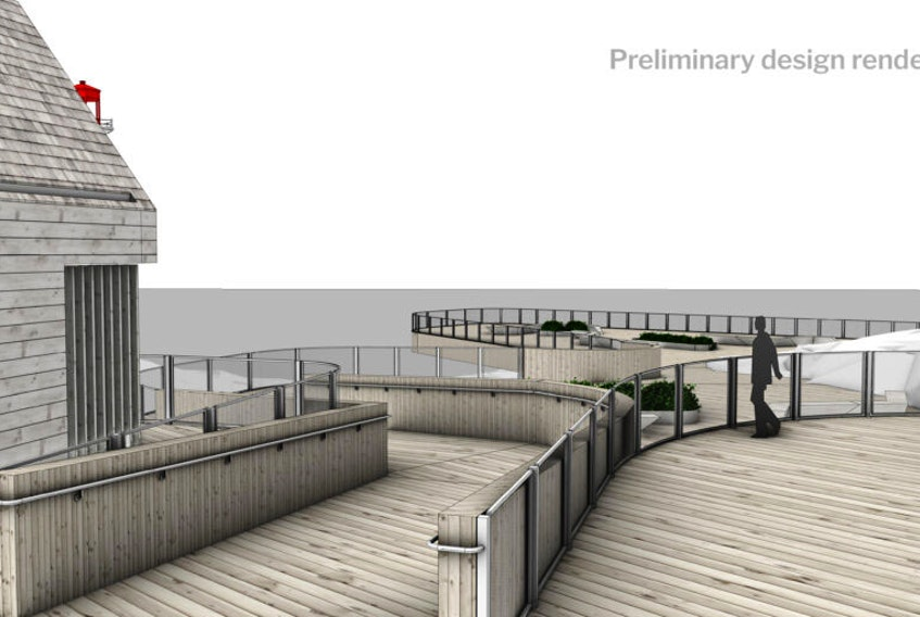 Plans have been unveiled for the installation of a viewing platform over the rocks at Peggys Cove. - Develop Nova Scotia