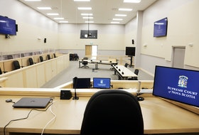 A view toward court from the judge's bench at the first criminal jury courthouse in Atlantic Canada built to be COVID-19 compliant. The courthouse is on Mellor Avenue in Dartmouth and has two courtrooms with partitioned jury boxes and space for lawyers, defendants, witnesses and court staff to physically distance.