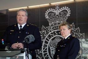 RCMP Chief Supt. Chris Leather speaks to media Sunday about a 12-hour shooting rampage by Gabriel Wortman that left at least 13 people dead. At Leather's side is Assistant Commissioner Lee Bergerman, the RCMP's commanding officer for Nova Scotia.