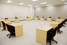 The jury deliberation room at the first criminal jury courthouse in Atlantic Canada built to be COVID-19 compliant. The courthouse is on Mellor Avenue in Dartmouth and has two courtrooms with partitioned jury boxes and space for lawyers, defendants, witnesses and court staff to physically distance.