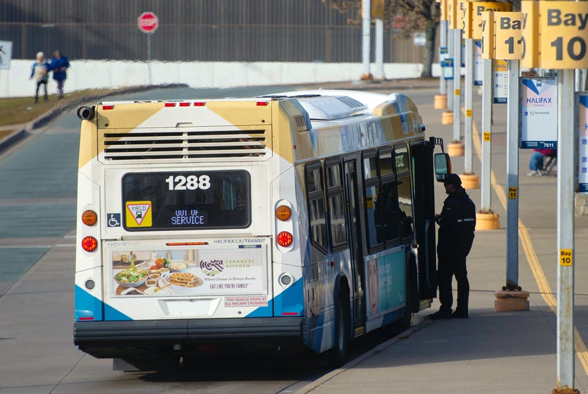 A Halifax Transit bus stops at the Bridge Terminal in Dartmouth on Wednesday, Nov. 27, 2019.