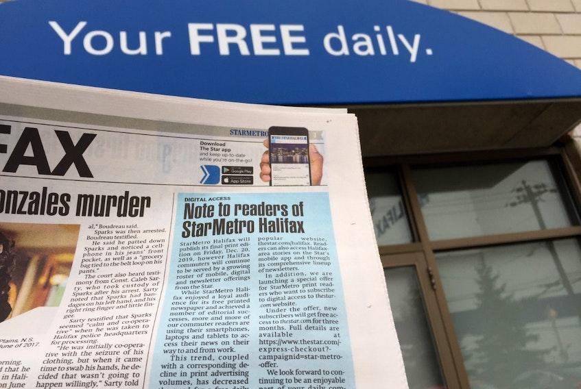 Torstar president John Boynton's note to readers appears in the Wednesday, Nov. 20, 2019 edition of StarMetro Halifax, photographed outside the Halifax bureau on Barrington Street.