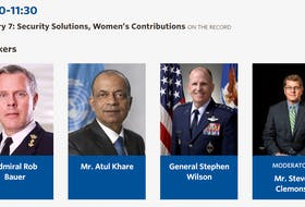 Screen grab from the Halifax Security Forum shows the all-male panel that will be discussing Security Solutions, Women's Contributions on Sunday, Nov. 24, 2019.