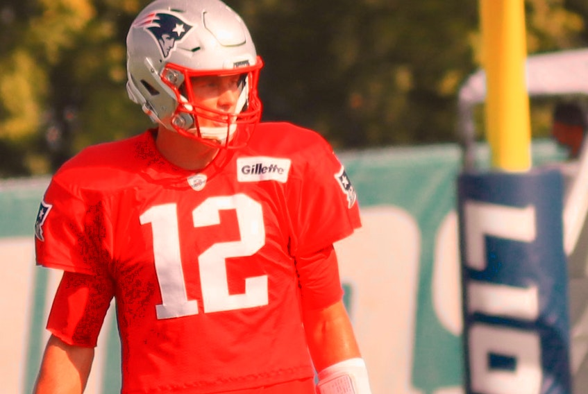New England Patriots quarterback Tom Brady during a joint practice between the Patriots and the Detroit Lions in Allen Park, Mich.