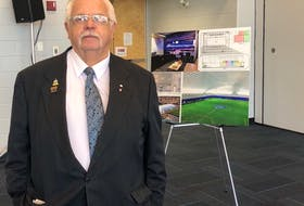 Summerside Mayor Basil Stewart attends a funding announcement Aug. 4 for upgrades to sporting complexes in his city.