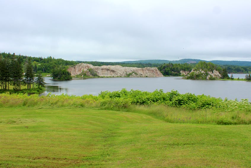 A view of the gypsum deposits in Plaster Cove from MacCormack Provincial Park near Iona. The small picnic park overlooking the Bras d'Or Lake is located on St. Columba Road, not far from St. Columba Church. Chris Connors/Cape Breton Post