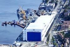 An aerial image of Irving Shipbuilding's Halifax Shipyard.