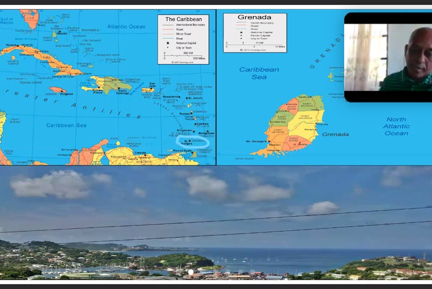 John Telesford from T. A. Marryshow Community College in Grenada situates his nation for the panel discussion on COVID-19 recovery on Tuesday.