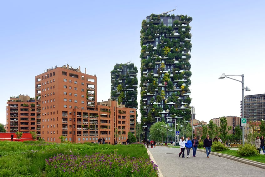 Milan's redeveloped Porta Nuova neighborhood shows visitors a modern side of the city, including two tree-covered skyscrapers.