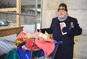 Ken Paul, originally of Eskasoni andnow living homeless in Sydney, is shown with all his belongings and means of survival in a shopping cart including blankets and some clothes, behind the Civic Centre in Sydney. Paul, who admits to having eaten from restaurant garbage cans at times, says people have been good to him. He gets offered everything except a place to sleep for the night. Sharon Montgomery-Dupe/Cape Breton Post
