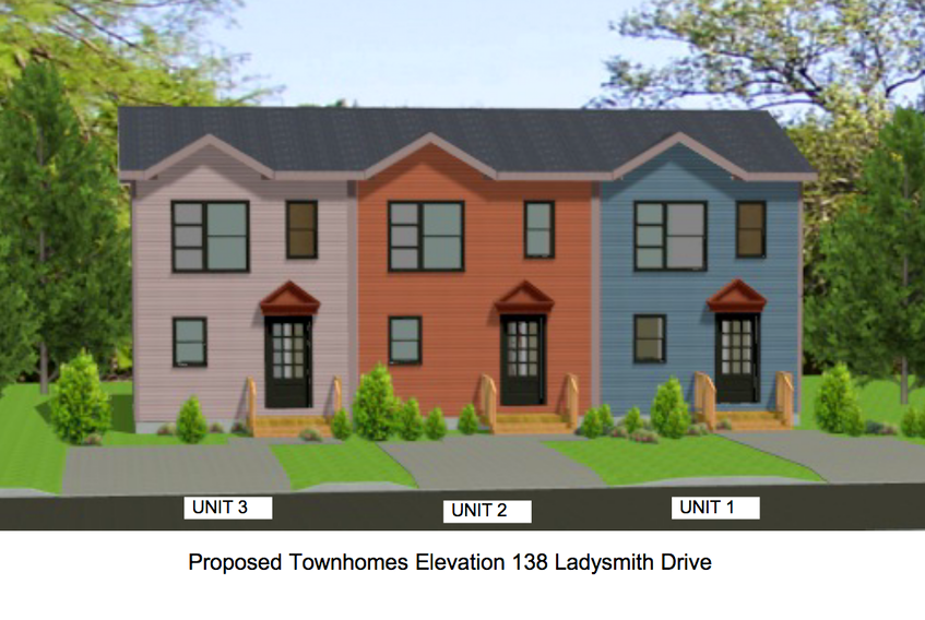 An artist's conception of a proposed townhouse development at 138 Ladysmith Dr. in St. John's. —  CONTRIBUTED/City of St. John's