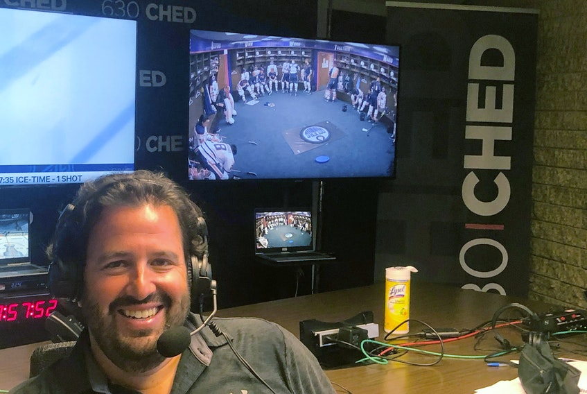 Edmonton Oilers play-by-play voice Jack Michaels is seen inside a makeshift studio at the 630 CHED offices, where he and colour commentator Bob Stauffer will be broadcasting the 2020 NHL playoffs beginning Saturday, Aug. 1, 2020.