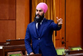 NDP leader Jagmeet Singh in the House of Commons on Wednesday, Oct. 21, 2020.