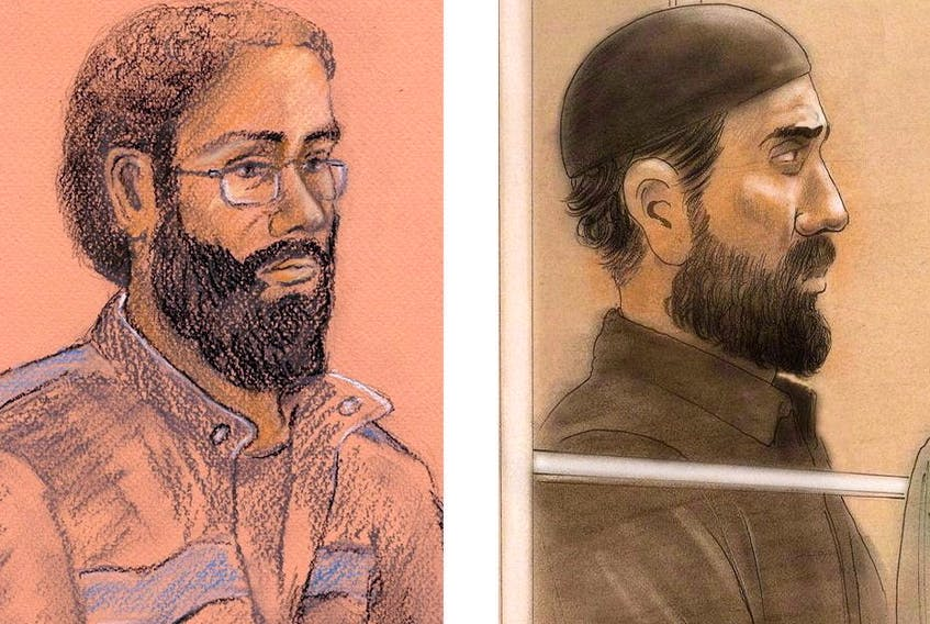 Raed Jaser (right) and Chiheb Esseghaier (left) are pictured in a composite of two courtroom illustrations